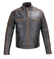 mens real leather antique jacket black motorcycle old
