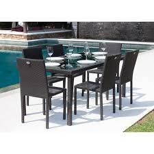 IBIZA Ensemble table de jardin 6 places en résine tressée et ...