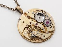 steampunk necklace gold key pocket watch movement gears purple crystal uni men women steampunk jewelry statement