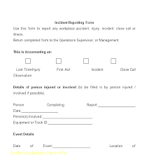 employee injury report form template accident incident form template