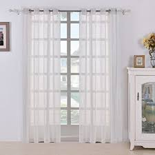 linen curtain panels. BEST DREAMCITY Faux Linen Sheer Curtains For Bedroom, Window Treatment Drapes, Grommet Top, Set Of 2 Panels, W52 By L84, White Curtain Panels