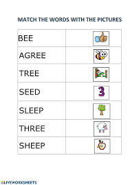 Ruled lines, short vowel sounds, consonant digraphs, and words to copy. Match Words With Ee Worksheet