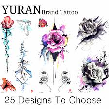 Sexy Temporary Tattoo Watercolor Drawing Rose Geometic Tattoo