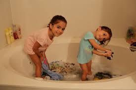 washing clothes in the bath tub