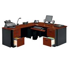 walnut office furniture. Locking Double Pedestal Executive Bowfront L-Desk, 14763 Walnut Office Furniture