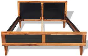 Festnight Bed Frame Solid Acacia Wood Black 78.7