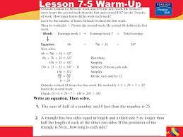 pre algebra 2 lesson 7 5 warm up