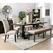 furniture of america reagan transitional antique black 84 inch dining table antique black