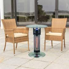 table heater. energ+ 1400w single element electric infrared bistro table patio heater (chairs not included) - on