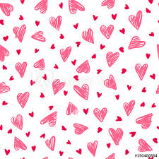 Seamless Romantic Pattern With Hand Drawing Hearts Vector