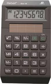 Rebell Eco10 Pocket Calculator Eco Line 8 Digits Black