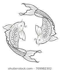 koi fish drawing. Modren Koi Hand Drawn Outline Koi Fish And Japanese Tattoodoodle Art For  Tattoo And Fish Drawing A