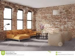 Orange Sofa Living Room Contemporary Stylish Loft Interior Brick Walls Orange Sofa Stock