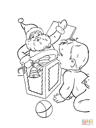 De Kerstman Met Een Klein Jongetje En Cadeautjes Kleurplaat Gratis