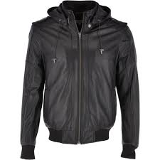 leather hooded er jacket black addison
