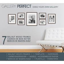 gallery perfect 7 piece wall frame set walnut