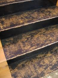 Painted Wood Stairs Wood With Lace Stencil Google Search Interiors Commercial