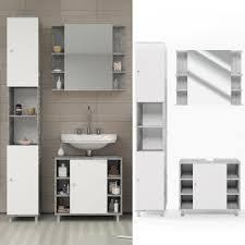 Badmöbel Set Fynn Weiß Grau Beton Badezimmer Spiegel Waschtisch Unterschrank Badschrank Hochschrank