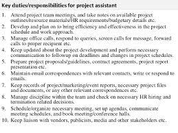 Hr Assistant Duties Project Assistant Job Description