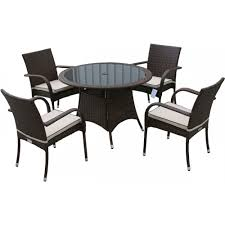 small round garden table 4 seat set in chocolate and cream inline zoom
