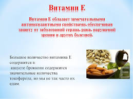 Детский проект по окружающему миру Наша пища и витамины  слайда 12 Витамин Е Витамин Е обладает замечательными антиоксидантными свойствами обес