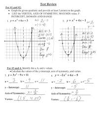 adorable algebra 1 quadratic test review answer key rademaker graphing equations worksheet with answers quad 417150503