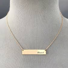 details about rose gold finished dainty chain blessed cursive engraved bar pendant necklace