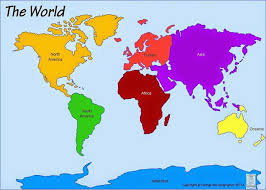 Printable Map Of The 7 Continents With Labelled In A Different Color