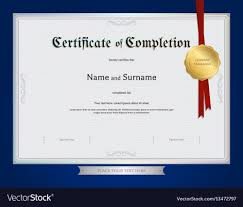 Certificate Of Completeion Certificate Of Completion Template Blue Border