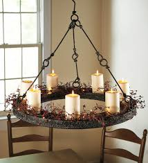 chandelier with candles in country style