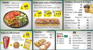 Menu Of Subway India Mall New Friends Colony Delhi Ncr