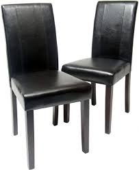 roundhill furniture urban style solid wood leatherette padded parson chair black set of 2 by roundhill kitchen dining rooms