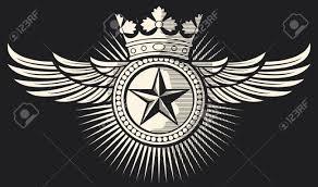 星王冠と翼タトゥーのタトゥーのデザイン星のバッジ星のシンボルの