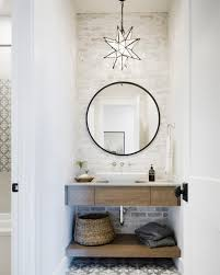 country powder bathroom with star pendant