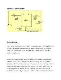 water level indicator alarm circuit using ic ne 555 timer ic Simple Alarm Circuit Diagram circuit diagram description here is the simple water level alarm simple alarm circuit diagram with relay