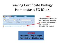 What Is Homeostasis In Biology Ppt Leaving Certificate Biology Homeostasis Eq Iquiz