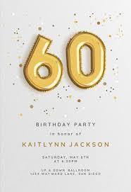60th Birthday Invitation Templates Free Greetings Island