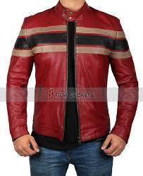 retro racing leather jacket mens zipper moto jacket