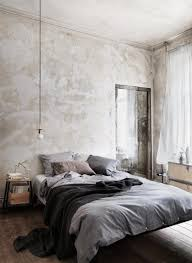 a cool beige abstract patterned wall idea for contemporary boy bedroom with grey bedding and modern