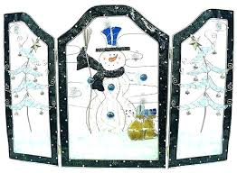 snowman stained glass pattern fire screen fireplace frame door free decorative st