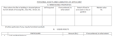 Personal Assets And Liabilities Statement Template Sbi Home Loan Document Checklist