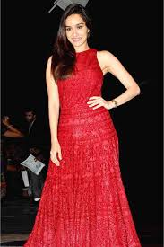 Red Net Dress Design Shraddha Kapoor Net Embroidery Gown In Red Colour