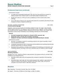 Resume Format For Marketing Manager Download