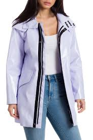 avec les fillesfaux patent leather raincoat