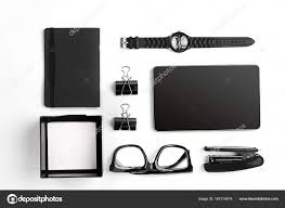 designer office desk isolated objects top view. Mix Of Office Supplies And Business Gadgets On A Modern Desk. Black Object White Background. Top View. Still Life. Isolated \u2014 Photo By Designer Desk Objects View