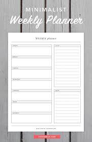 Minimalist Weekly Planner Printable Weekly Planner