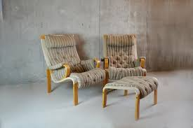 pair 1960 s swedish lounge chairs with foot stool in the style of knud faerch for kallemo