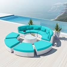 outdoor white furniture. wonderful white new uduka modavi 9pcs outdoor round sectional patio furniture white wicker  sofa set turquoise all weather and