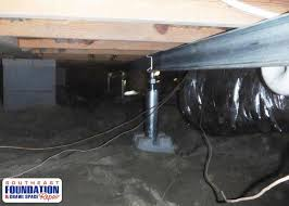 southeast foundation crawl space repair foundation repair photo smart jacks and power beam installed in the crawl space to stabilize the floor to the