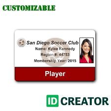 Membership Id Card Template ID Card for Soccer Player Order in Bulk from IDCreator 1